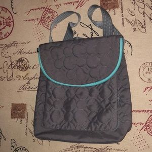 Thirty-One Vary You backpack purse gray quilt teal